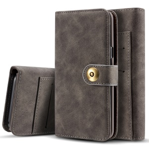 Detachable 2-in-1 Vintage Style Split Leather Wallet Case for Samsung Galaxy S10 Plus - Grey