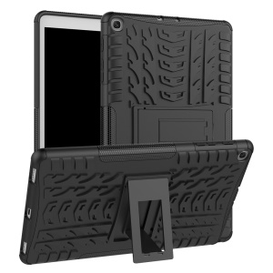 Tire Pattern Hybrid PC + TPU Kickstand Case for Samsung Galaxy Tab A 10.1 (2019) T510 - Black