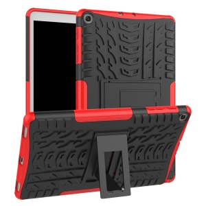 Tire Pattern Hybrid PC + TPU Kickstand Case for Samsung Galaxy Tab A 10.1 (2019) T510 - Red