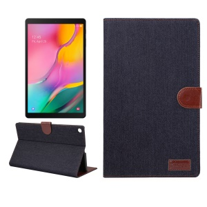 Jeans Cloth Skin Wallet Stand Tablet Case for Samsung Galaxy Tab A 10.1 (2019) T510/T515 - Black