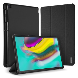 DUXDUCIS Domo Series Cloth Texture Tri-fold Stand PU Leather + PC Smart Case for Samsung Galaxy Tab S5e SM-T720 - Black