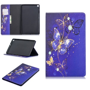 Pattern Printing Wallet Stand Leather Case for Samsung Galaxy Tab A 10.1 (2019) T510 - Purple Butterflies