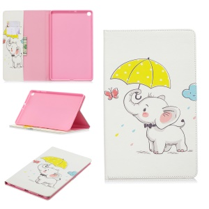 Pattern Printing Wallet Stand Leather Case for Samsung Galaxy Tab A 10.1 (2019) T510 - Elephant Holding Umbrella