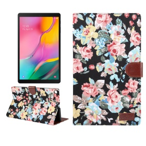 Floral Printed Cloth + PC Wallet Stand Tablet Case for Samsung Galaxy Tab A 10.1 (2019) T510/T515 - Black Flowers