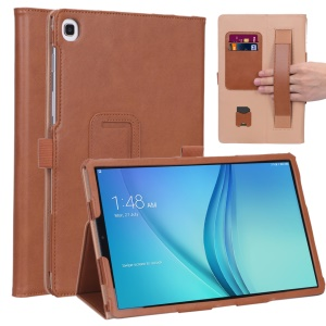 Card Holder Stand PU Leather Tablet Case with Elastic Hand Strap for Samsung Galaxy Tab S5e SM-T720 - Brown