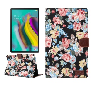 Flower Cloth Skin PU Leather Wallet Stand Cover for Samsung Galaxy Tab S5e SM-T720 / T725  - Black