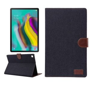 Jeans Cloth Leather Wallet Stand Protection Tablet Cover for Samsung Galaxy Tab S5e SM-T720 / T725 - Black Blue