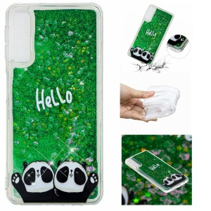 Embossment Pattern Quicksand TPU Cover for Samsung Galaxy A70 - Hello and Pandas