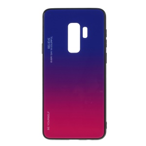 Gradient Color Glass + PC + TPU Phone Case for Samsung Galaxy S9 Plus G965 - Blue / Rose