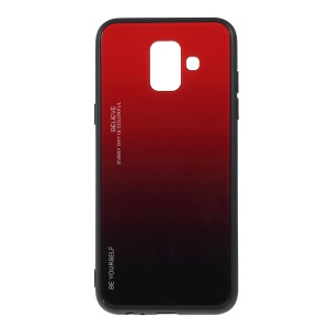Gradient Color Glass + PC + TPU Combo Mobile Phone Case for Samsung Galaxy A6 (2018) - Red / Black