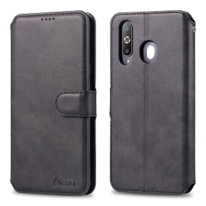 AZNS Leather Wallet Phone Case Cover for Samsung Galaxy A60 - Black