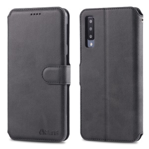 AZNS Wallet Leather Stand Phone Cover Shell for Samsung Galaxy A70 - Black