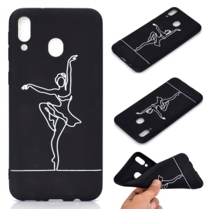 Pattern Printing Matte TPU Case for Samsung Galaxy A40 - Girl Dancing Ballet