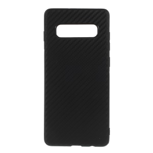 Carbon Fiber TPU Mobile Phone Casing for Samsung Galaxy S10 Plus - Black