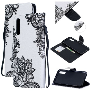 Pattern Printing Leather Wallet Case for Samsung Galaxy A50 - Black Flower