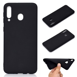 Solid Color Matte TPU Soft Mobile Phone Cover for Samsung Galaxy M30 - Black