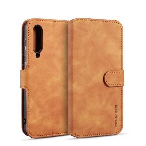 DG.MING Retro Style Wallet Leather Stand Case for Samsung Galaxy A70 - Brown