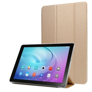 Silk Texture Tri-fold Stand Leather Case for Samsung Galaxy Tab A 10.1 (2019) SM-T515 - Gold