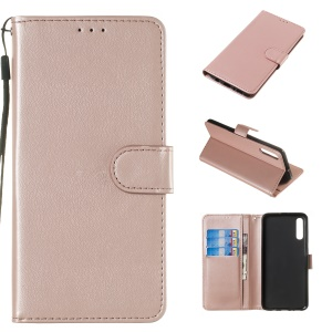 Solid Color Leather Wallet Stand Phone Case Cover for Samsung Galaxy A70 - Light Pink