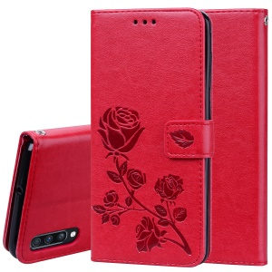 Imprinted Rose Flower Pattern Leather Wallet Case for Samsung Galaxy A70 - Red