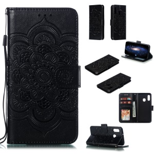 Imprint Mandala Flower Stand Wallet Leather Case for Samsung Galaxy A20e - Black