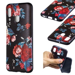Embossment Patterned TPU Case Accessory for Samsung Galaxy A40 - Roses