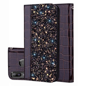 Crocodile Texture Glittery Sequins Splicing PU Leather Auto-absorbed Case for Samsung Galaxy A30/Samsung Galaxy A20 - Black