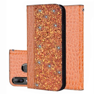 Crocodile Texture Glittery Sequins Splicing PU Leather Auto-absorbed Case for Samsung Galaxy A30/Samsung Galaxy A20 - Orange