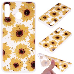 Glitter Sequins Inlaid Patterned TPU Phone Cover for Samsung Galaxy A40 - Sunflowers