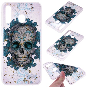 Glitter Sequins Inlaid Patterned TPU Phone Cover for Samsung Galaxy A40 - Skull