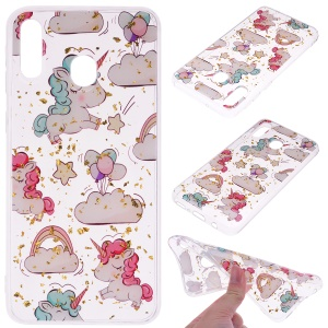 Glitter Sequins Inlaid Patterned TPU Phone Cover for Samsung Galaxy A40 - Unicorns