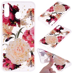 Glitter Sequins Inlaid Patterned TPU Phone Cover for Samsung Galaxy A40 - Pretty Flowers