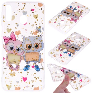 Glitter Sequins Inlaid Patterned TPU Phone Cover for Samsung Galaxy A40 - Two Owls