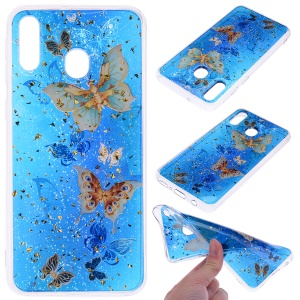 Glitter Sequins Inlaid Patterned TPU Phone Cover for Samsung Galaxy A40 - Butterflies