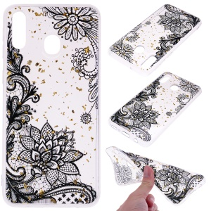 Glitter Sequins Inlaid Patterned TPU Phone Cover for Samsung Galaxy A40 - Black Lace