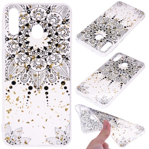 Glitter Sequins Inlaid Patterned TPU Phone Cover for Samsung Galaxy A40 - Black Flower