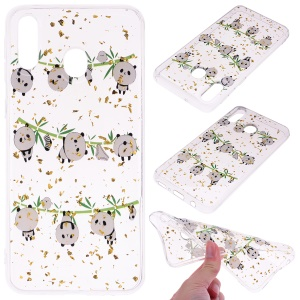 Glitter Sequins Inlaid Patterned TPU Phone Cover for Samsung Galaxy A40 - Pandas