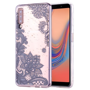 Glitter Sequins Inlaid Patterned TPU Phone Cover for Samsung Galaxy A70 - Black Lace