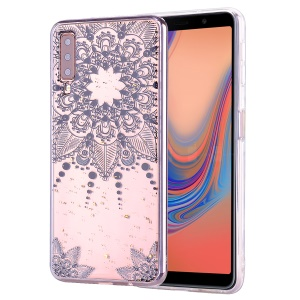 Glitter Sequins Inlaid Patterned TPU Phone Cover for Samsung Galaxy A70 - Black Flower