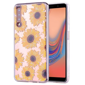 Glitter Sequins Inlaid Patterned TPU Phone Cover for Samsung Galaxy A70 - Sunflowers