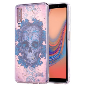 Glitter Sequins Inlaid Patterned TPU Phone Cover for Samsung Galaxy A70 - Skull