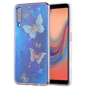 Glitter Sequins Inlaid Patterned TPU Phone Cover for Samsung Galaxy A70 - Butterflies