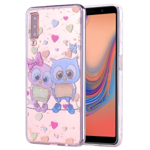 Glitter Sequins Inlaid Patterned TPU Phone Cover for Samsung Galaxy A70 - Owls