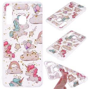 Glitter Sequins Inlaid Patterned TPU Phone Cover for Samsung Galaxy A30 / A20 - Unicorns