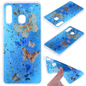 Glitter Sequins Inlaid Patterned TPU Phone Cover for Samsung Galaxy A30 / A20 - Butterflies