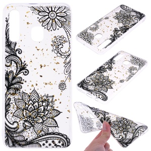 Glitter Sequins Inlaid Patterned TPU Phone Cover for Samsung Galaxy A30 / A20 - Black Lace