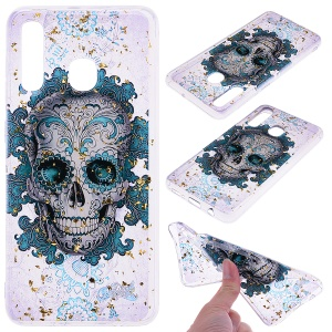 Glitter Sequins Inlaid Patterned TPU Phone Cover for Samsung Galaxy A30 / A20 - Skull