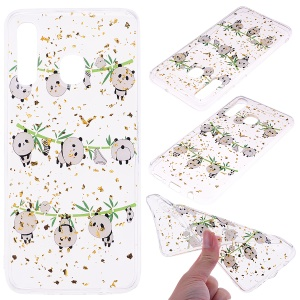 Glitter Sequins Inlaid Patterned TPU Phone Cover for Samsung Galaxy A30 / A20 - Pandas