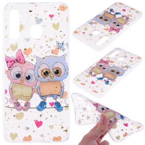 Glitter Sequins Inlaid Patterned TPU Phone Cover for Samsung Galaxy A30 / A20 - Owls