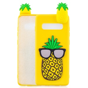 [3D Cute Doll] Patterned TPU Phone Case Cover for Samsung Galaxy S10 5G - Pineapple with Sunglasses